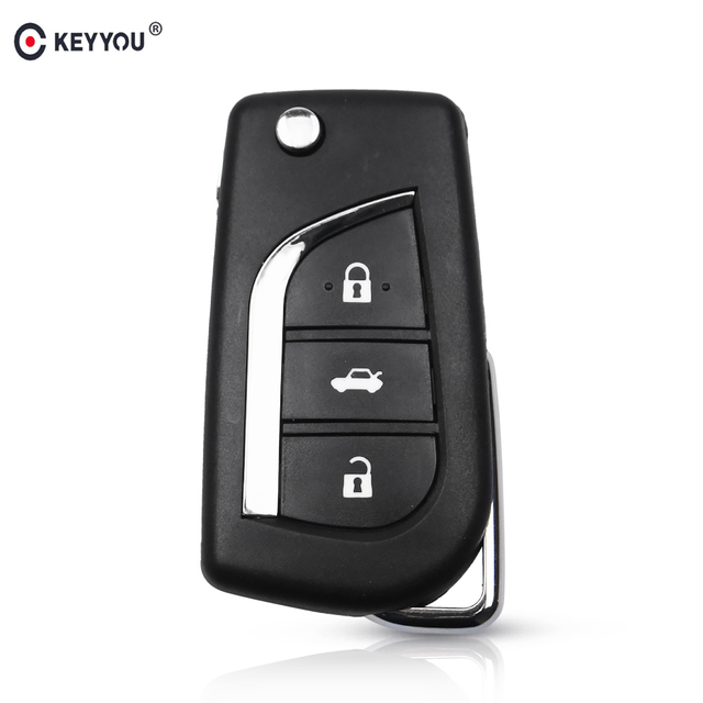KEYYOU 3 Button Flip Folding Remote Key Shell Cover For Toyota 2014 Levin Camry Corolla Reiz Highlander Key Case TOY48 Blade