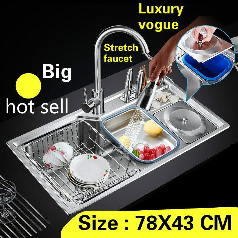 Livraison gratuite appartement de luxe cuisine unique auge évier robinet extensible de qualité alimentaire 304 en acier inoxydable vente chaude 780X430 MM