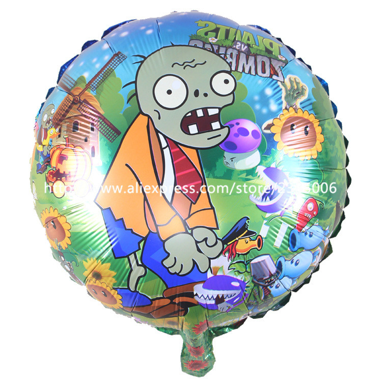 25pcs/lot 18 inch round Plants Vs Zombies foil balloons birthday decoration globos party supplies ballon helium for baby balloon