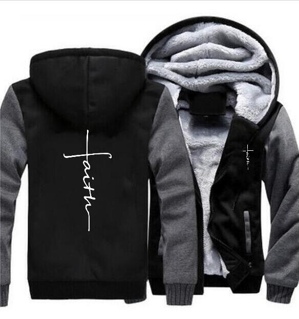 Fashion men's camouflage faith hooded jacket motorcycle autumn and winter warm zipper thick coat Hoodie jacket