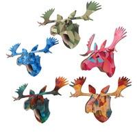 3D DIY Lebendige Hirschkopf Holz Puzzle Kreative Modell Wandbehang Vintage Mdf-platte Tier Kinder Handwerk Geschenk Wohnkultur 5 Farbe