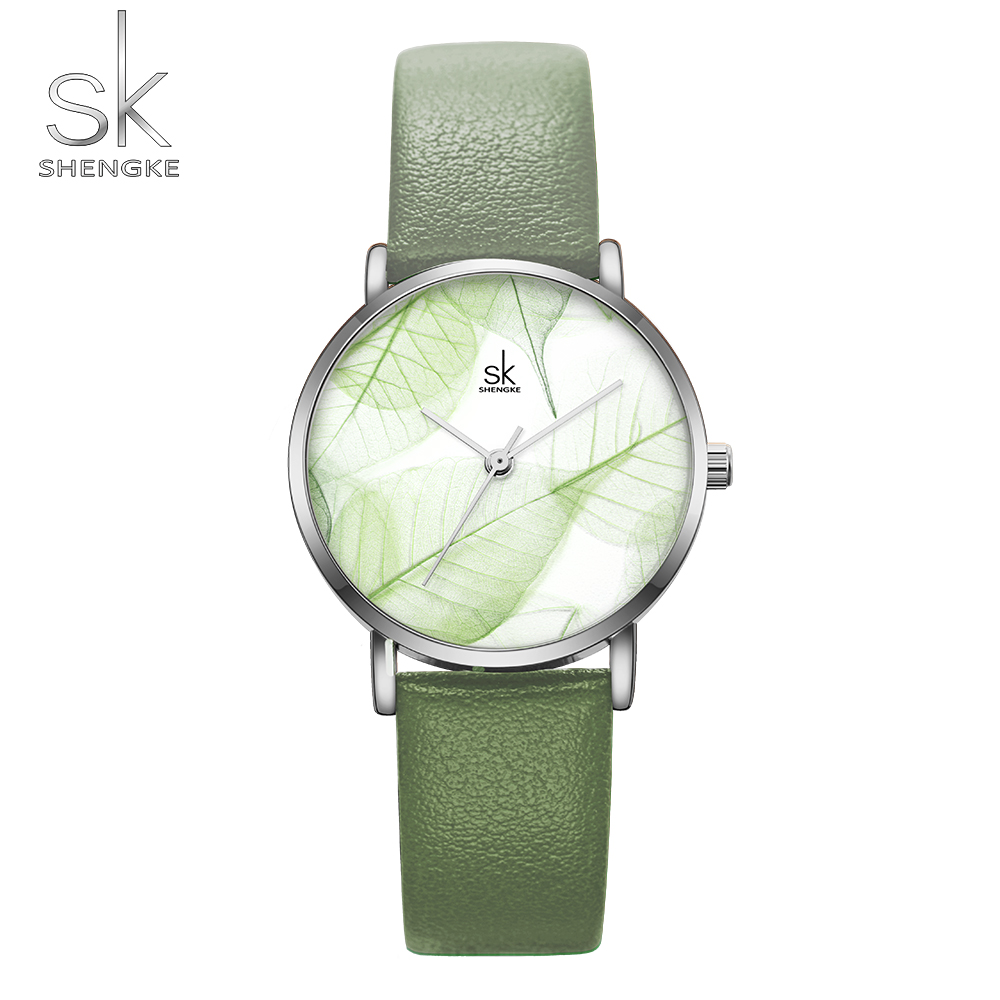 Shengke New Women Watches Creative Leaves Summer Green Dial Wristwatch Quartz Japanese Movement Gift Leather Zegarek Damski