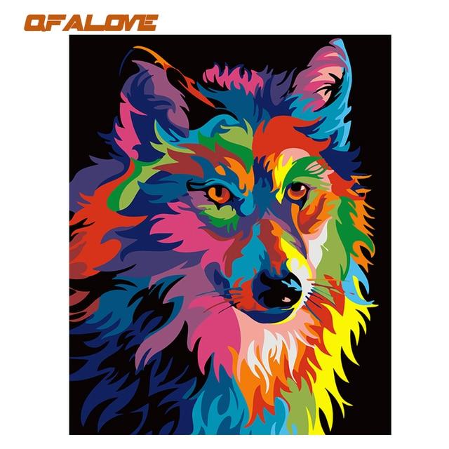 Qfalove Dibujos Animados Coloridos Animales Diy Pintura Por Numeros