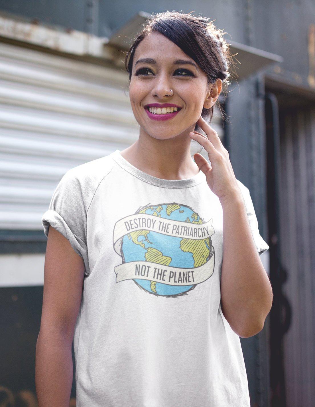 Destruir o Patriarcado Não É o Planeta das Mulheres T-Shirt Retro Harajuku Camisa Feminista Resistir Hipster Oversize T Das Senhoras Do Vintage