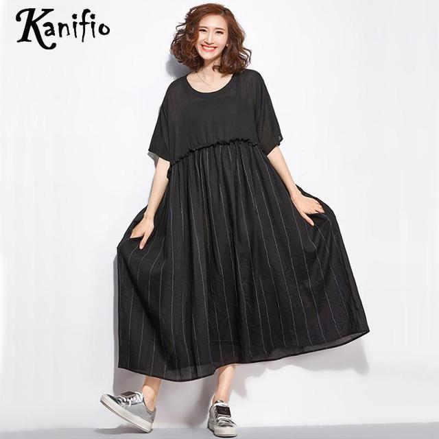 1fe1b869bfe Kanifio Brand Plus Size Women Black Dress Ladies Casual Patchwork Dresses  Female Loose Long Shirt Tunics Pullover Vestidios 5XL