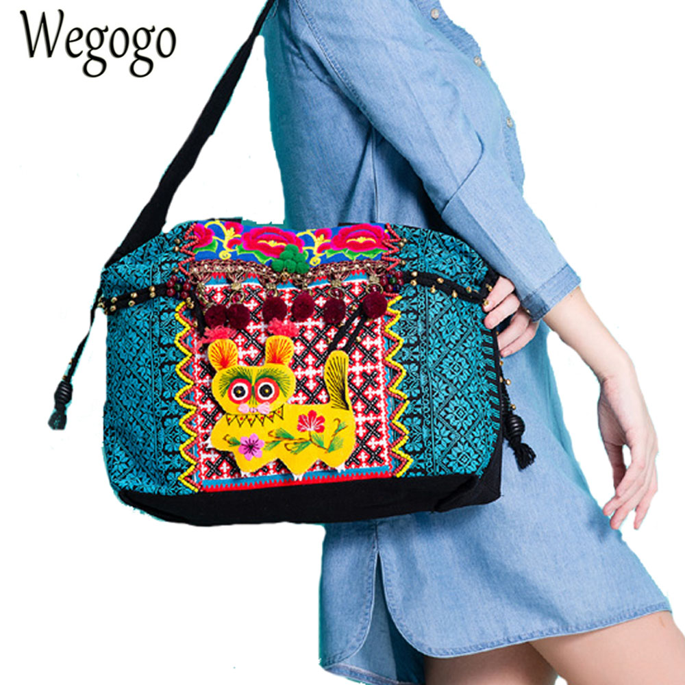 Vintage Women Handbag Embroidery Shoulder Bag Animal Embroidered Ethnic Bag Original Boho Tote Travel Beach Bolsas FemininasVintage Women Handbag Embroidery Shoulder Bag Animal Embroidered Ethnic Bag Original Boho Tote Travel Beach Bolsas Femininas