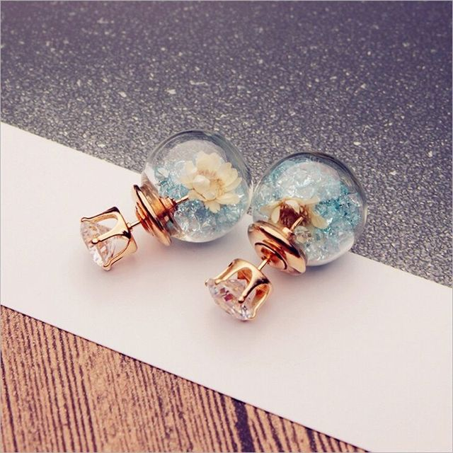 2017 Korean Fashion Women Lady Elegant Rose Glass Ball Flower Rhinestone Metal Stud Earrings For Women Jewelry Earring Set  2