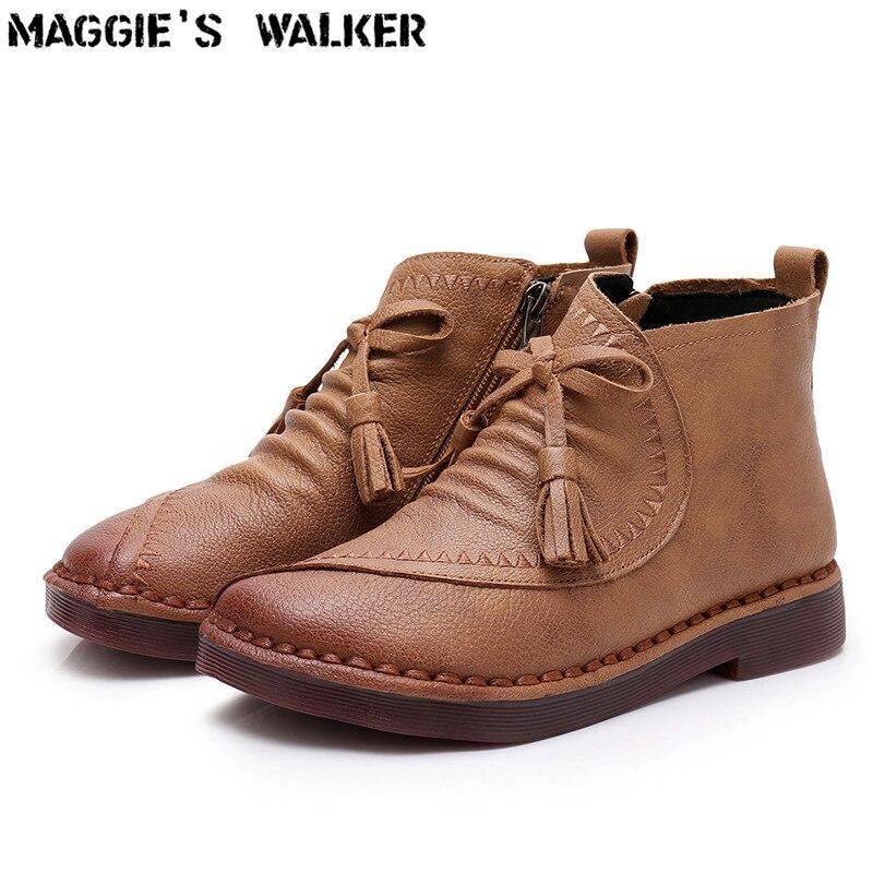 d8f072e34de5c0 Mit Zipper Echtes Winter Leder Stiefel Stiefeletten Herbst Frauen Fashion  35 ~ Walker Maggie Größe Und ...