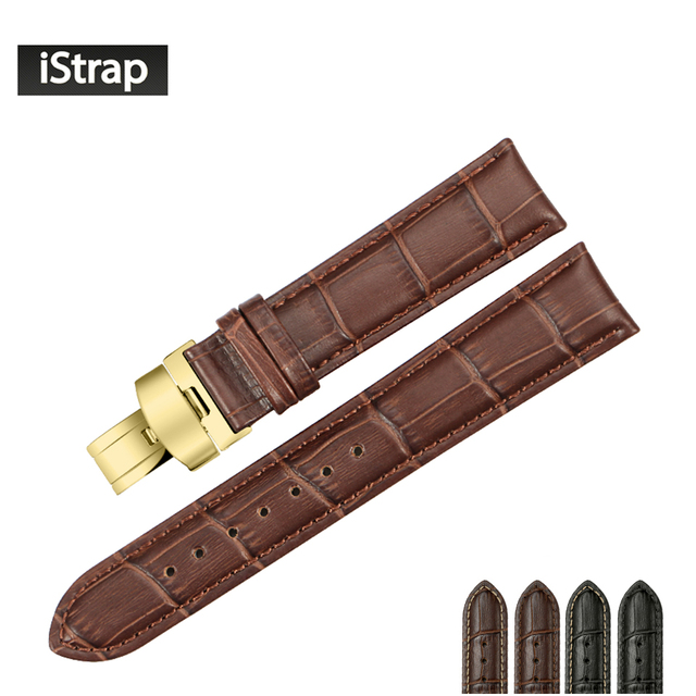 iStrap 14 15 16 18 19mm 20mm 21mm 22mm 24mm Genuine Leather Watch bands Pull Deployment Clasp for Movoda Citizen Mens strap Belt