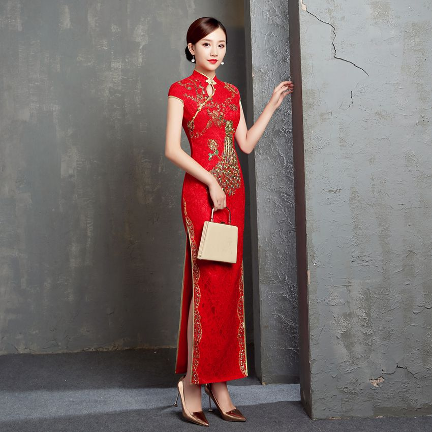 Red Chinese Traditional Wedding Cheongsam Dress Long Embroidery Qipao Retro Lace toast Dress Plus Size 6XL