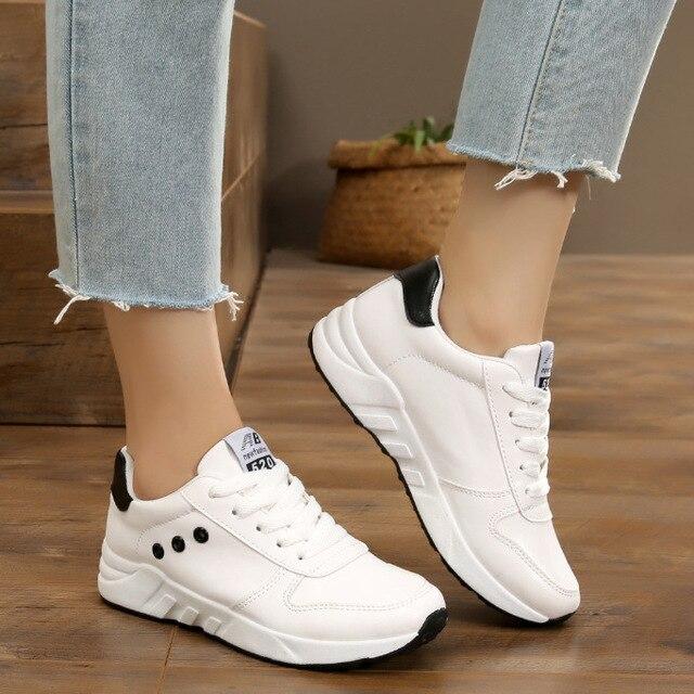Scarpe Coreano New Sneaker Vogue Tutti Bianche Donna 0Nwmnv8