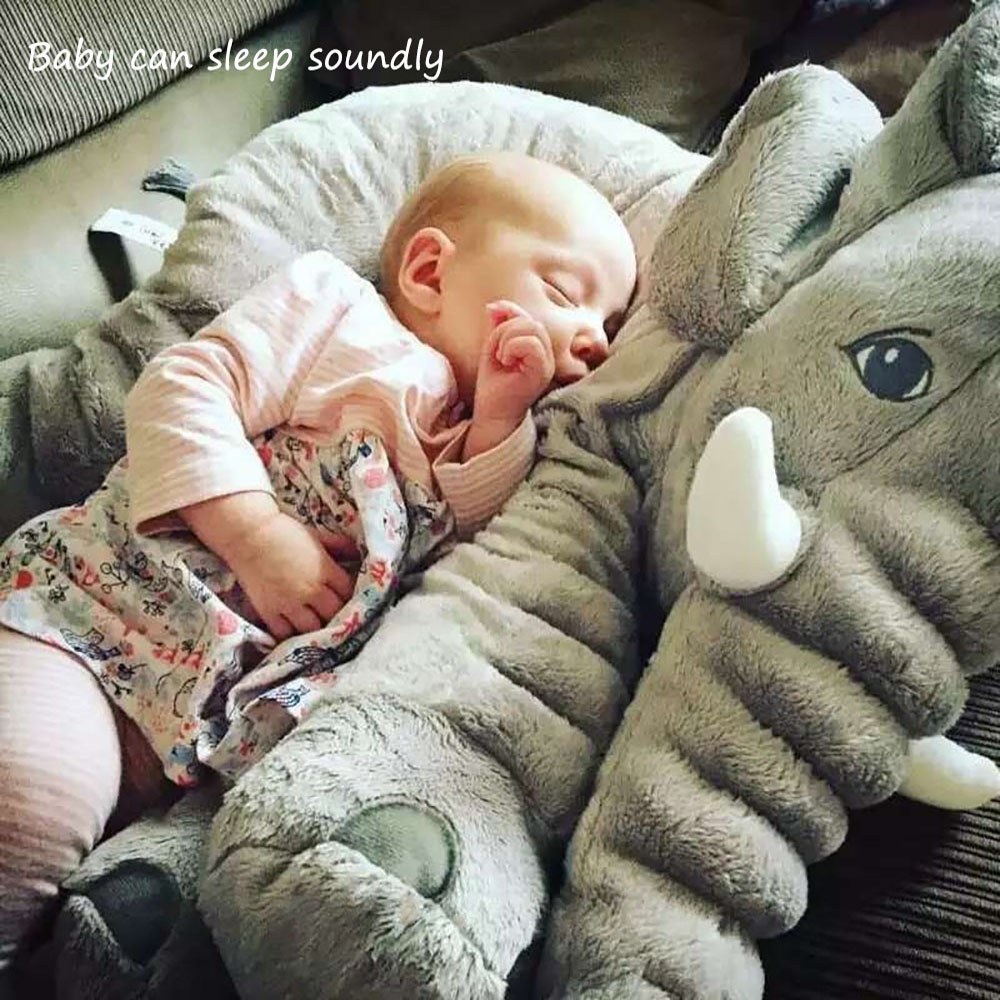 Soft Baby Elephant Pillow Children Sleeping Cushion Room Baby Bedding Pillows Decoration Toys Kids Calm Doll Car Seat Plush 1pcs 60cm ins elephant soft pillows baby sleeping pillow stuffed elephant comforter plush animal cushion best gift for kids