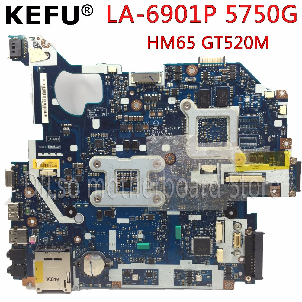 KEFU P5WE0 LA-6901P motherboard for acer 5750 5750G 5755 5755G laptop motherboard HM65 GT520M original tested motherboard free shipping for acer tmp453m nbv6z11001 ba50 rev2 0 motherboard hm77 tested