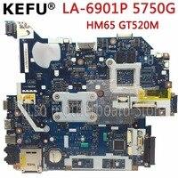 KEFU P5WE0 LA 6901P motherboard for acer 5750 5750G 5755 5755G laptop motherboard HM65 GT520M/610M original Test motherboard