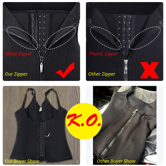 Body Shapes Black 6 Steel Boned Neoprene Sauna Sweat Vest Waist Trainer Slimming Trimmer Corset Workout Thermo Push Up Shapewear