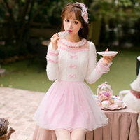 Princess sweet lolita pink knitting dress Candy rain Bow decoration A line Lace yarn Embroidery Japanese design C16CD6176