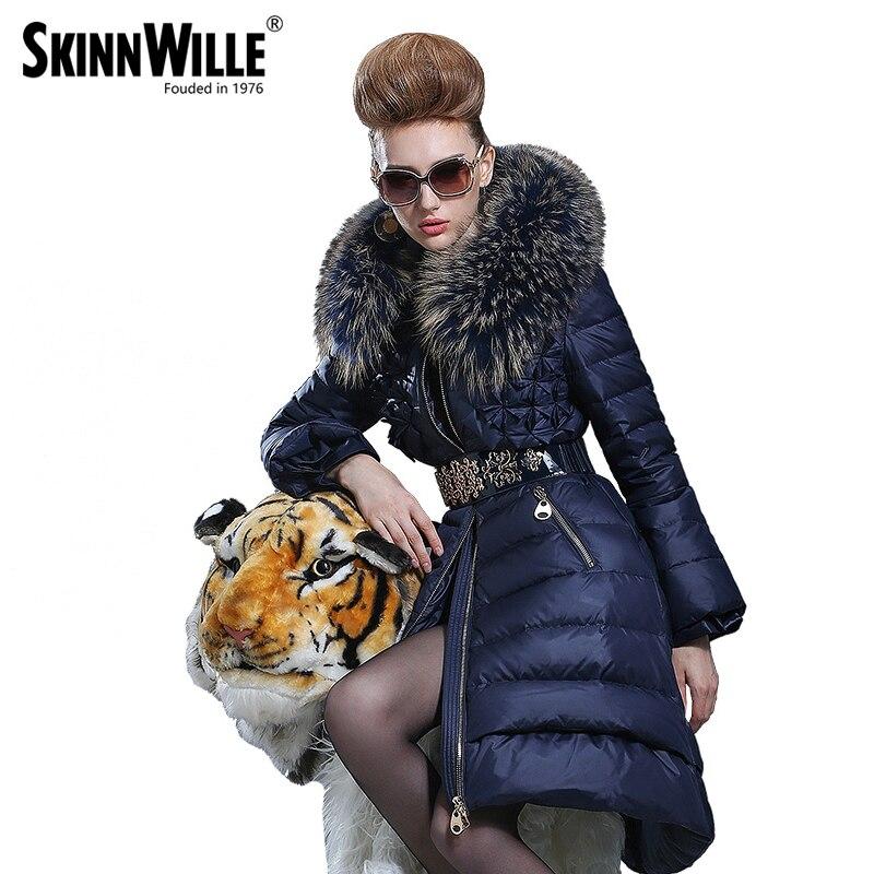 2016 moyen-long manteau femme mode haute qualité de luxe grand col de fourrure épaississement