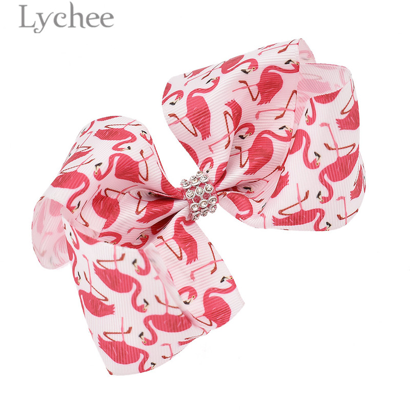 Lychee Cartoon Alloy Cloth Kids Flamingo Bowknot Hair Clips Cute Lovely Animal Pattern H ...