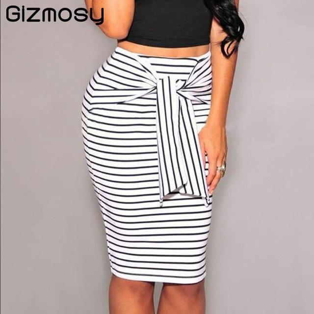 b4554cbe6 Women's Skirt Summer Casual High Waist Striped Bodycon Skirt Short  Knee-Length Pencil SkirtS For Ladies Office Sexy saia BN957