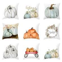 Watercolor Pumpkin Cushion Cover Pillow Case Halloween Thanksgiving Day  Decor(China)