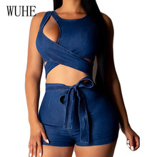 WUHE Sleeveless Bandage Bodycon Jumpsuits Summer Sexy Hollow Out Lace Up Short Bodysuits Women Casual Informal Playsuits Mono