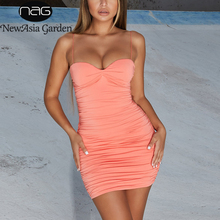 NewAsia 2 Layers Pink Summer Dress 2019 Women Sexy Backless Bodycon Club Dresses Woman Party Night Vintage Ruched Elegant