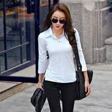 Spring and autumn women's long-sleeve cotton t-shirt turn-down collar polo shirts slim basic shirt solid color top
