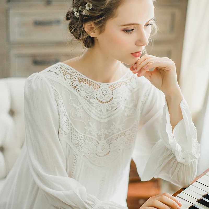 f0b7888efe6 ... Осенняя хлопковая ночная рубашка принцессы для женщин с длинными  рукавами ретро романтический рубашки французский суд дворец