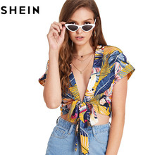 SHEIN Tie Front Deep V Neck Print Short Tops and Blouses 2018 Summer Women Boho Beach Vacation Sexy Floral Tropical Crop Tops