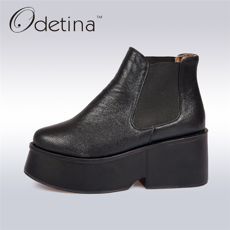 Odetina 2017 New Fashion Women Platform Chelsea Boots Thick Sole Shoes Casual High Heel Wedge Ankle Boots Slip on Big Size 34-43 nayiduyun women genuine leather wedge high heel pumps platform creepers round toe slip on casual shoes boots wedge sneakers