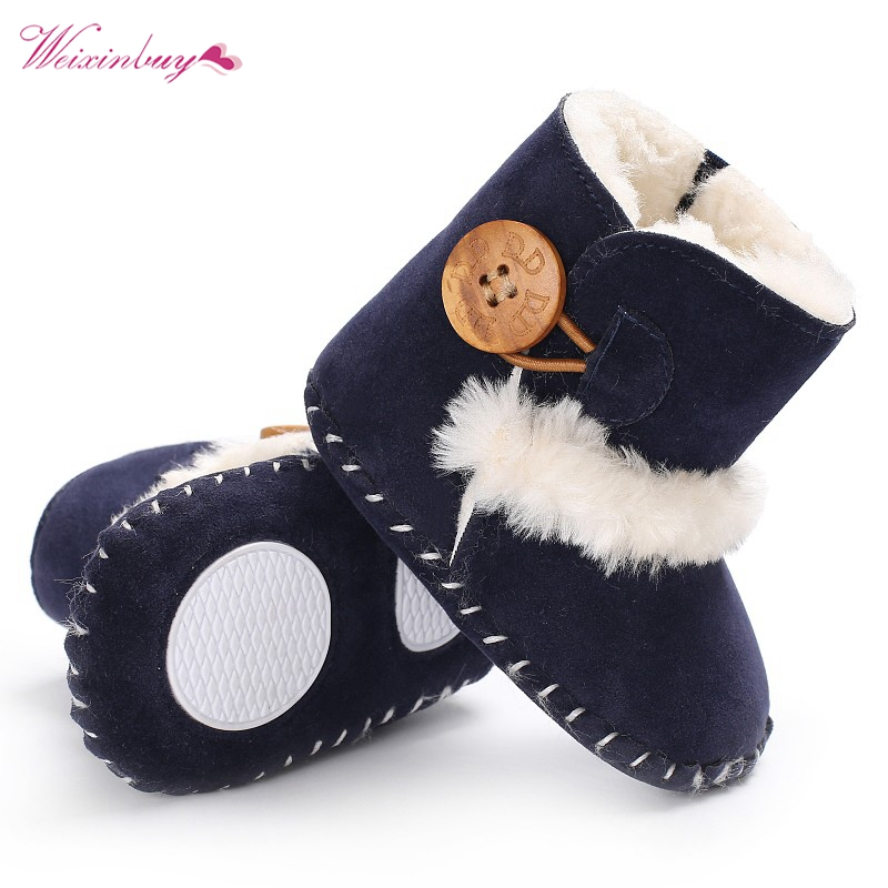 Winter Baby Boots Girls Boys Rubber Soled Shoes Infant Toddler Newborn Super Warm Snowfield Wooden Buttons Boots