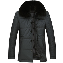 Mens Winter Duck Down Jacket Fox Fur Collar Warm Coat with Liner Detachable Selected Feather Clothing for Men 5623 New