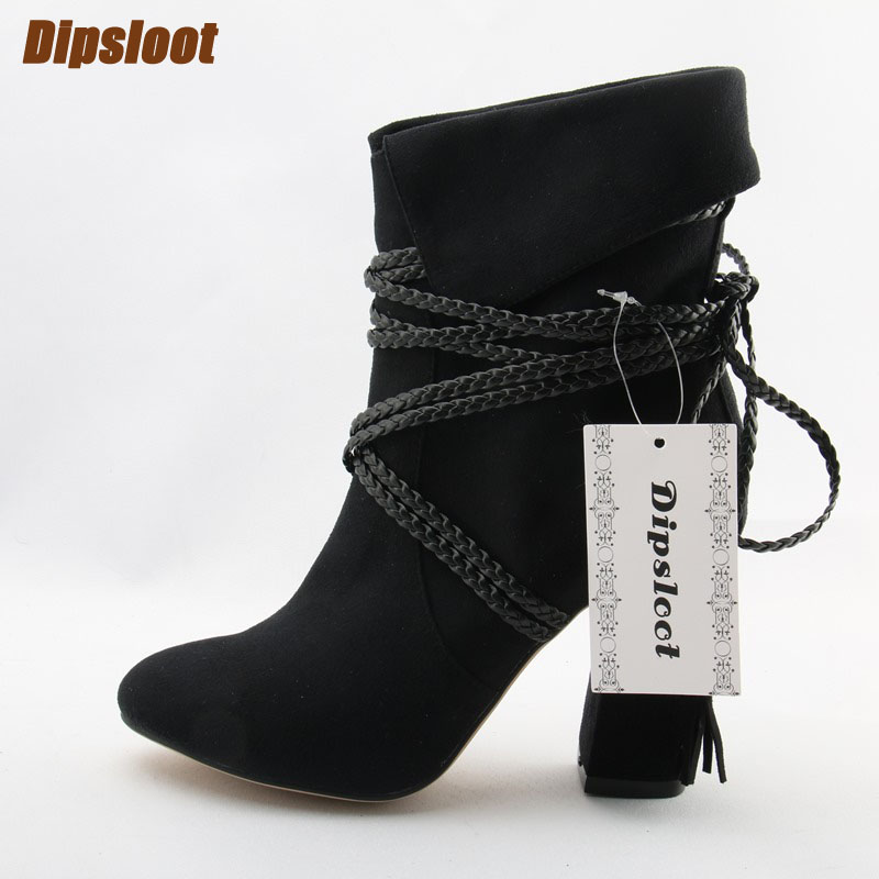 Fashion Black Suede Leather Women Chunky Heel Ankle Boots Braid Leather Straps Ladies Sexy Pointy Toe Boots Fringe Knight Boots 2018 new suede leather patchwork women flodover mid calf boots sexy pointy toe ladies blade heel boots zipper knight boots