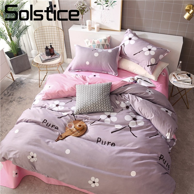 Solstice Home Textile Girls Kid Teens Bedding Sets Queen Twin Linen Gray Pink Flower Duvet Quilt Cover Pillowcase Flat Bed Sheet