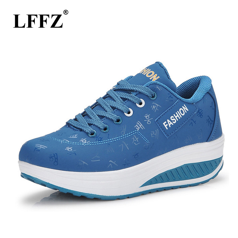 LFFZ 2018 new Hot Sale Spring Fall Women flat Shoes Breathable Non Slip Thick Bottom Ladies Wedges Platform Sneakers flats JH30(China)
