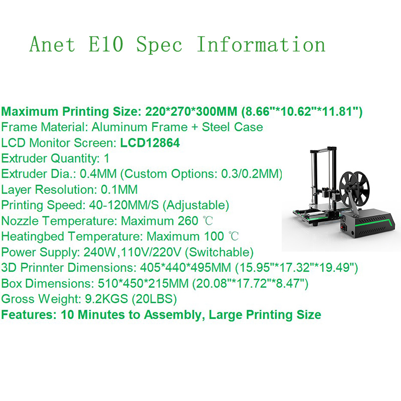 Anet E10 3D Printer DIY 3D Printer Kits Aluminum Alloy Frame Super Building Volume 3d Printing Machine with 8GB TF Card Filament in 3D Printers from Computer Office