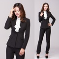 New 2017 Winter Blazer Pantsuits Trouser Suit for Women Work Wear Suits wint Pant and Top Sets Formal Office Uniform Styles