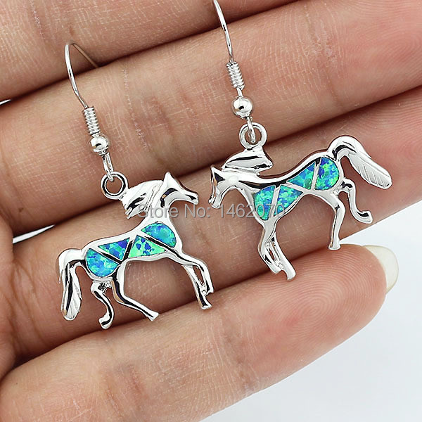 HAIMIS Free Gift Box Drop Ship Horse Earrings Blue Fire Opal Pendant Gift For Women Fashion Jewelry Stud Earrings love monologue fashion jewelry lovely red create coral drop earrings for womens free gift bag j0494