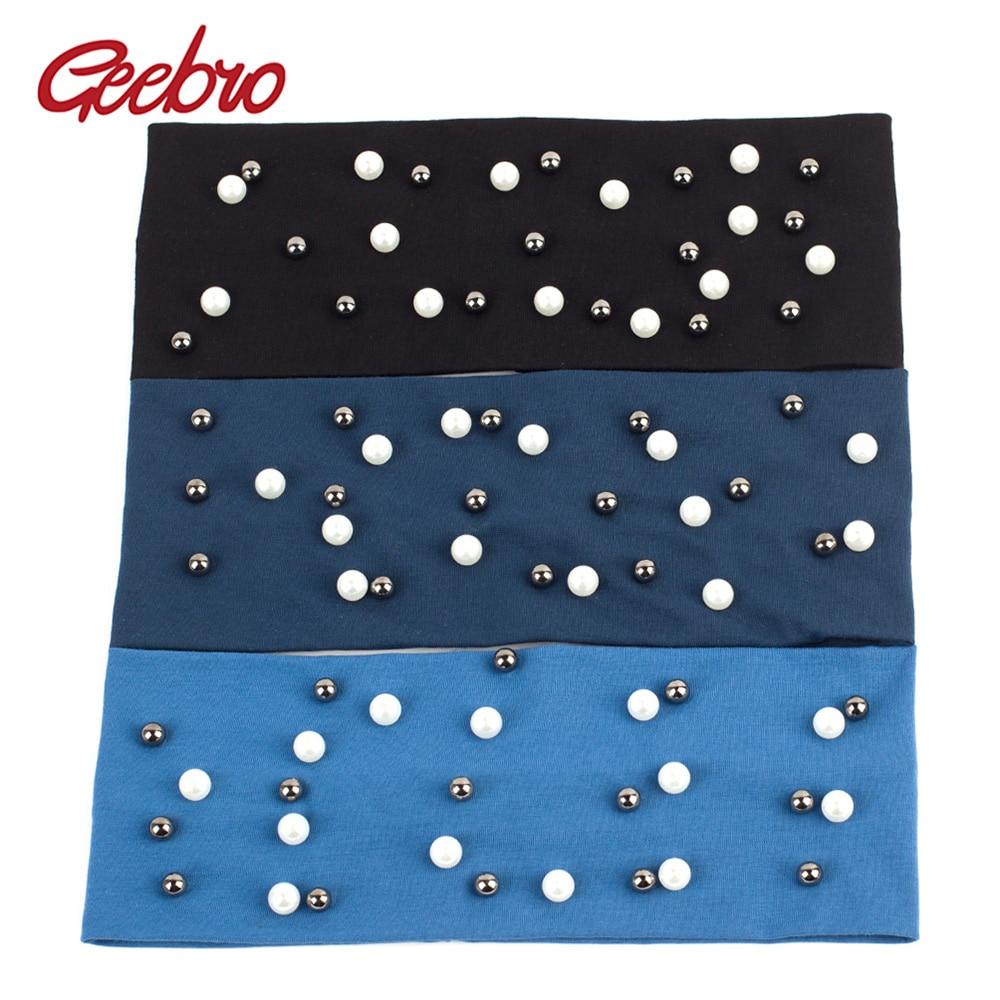 Geebro Womens Plain Stretch Headbands Fashion Cotton Pearls Elastic Flat Headband For Girls Shine White Black Pearl Hair Band