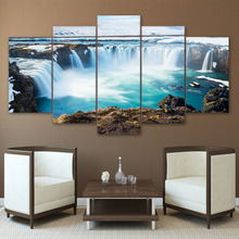 Canvas Home Decor HD Prints Poster 5 Pieces Iceland Paintings Godafoss Waterfall Landscape Pictures Modular Wall Art Framework