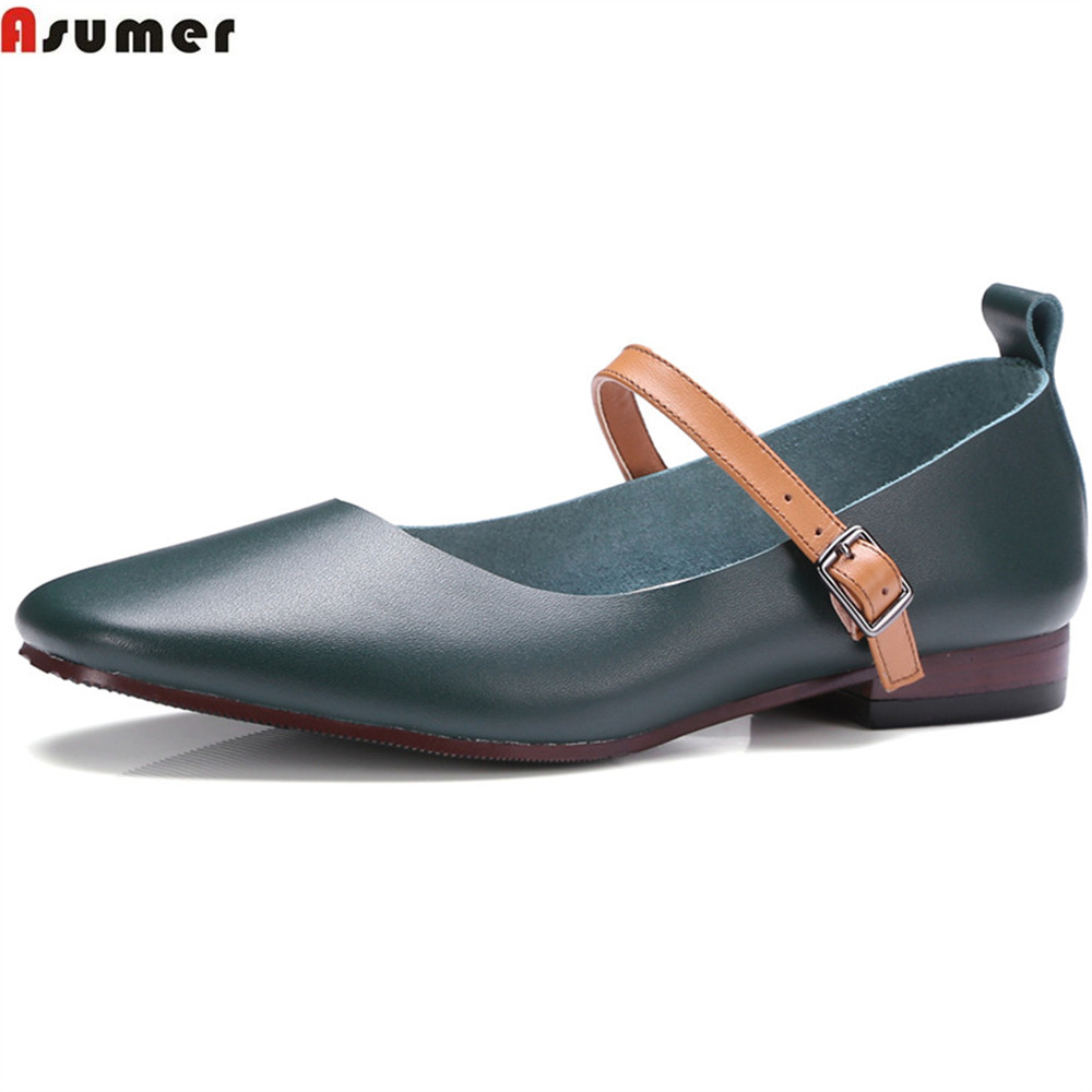 Asumer 2018 fashion spring autumn women pumps square toe genuine leather shoes square heel buckle cow leather low heels shoes asumer black fashion spring autumn shoes woman square toe buckle square heel elegant women genuine leather high heels shoes