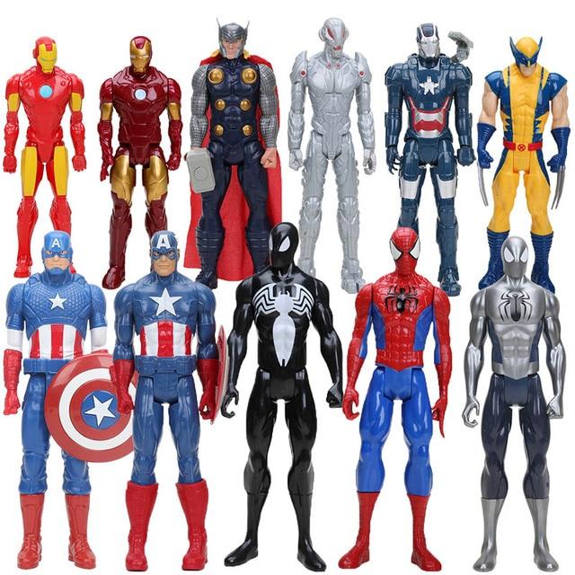 O Fim Do Jogo toy Figura Super Heroes Avengers Capitão América Wolverine Thor Spiderman Ironman Hulk Thanos Figura PVC Brinquedo 30 cm