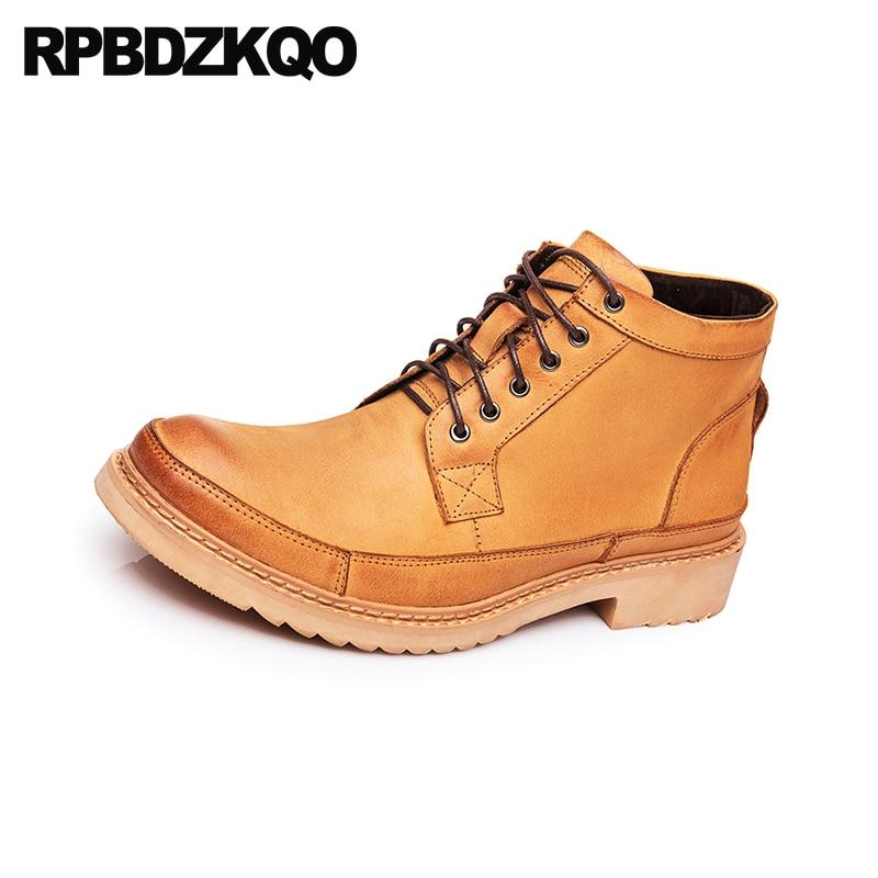 Até Homens De Couro Grossas Combate amarelo Curtas Militar Retro Cheio Britânico Sapatos Do Botas Marrom Estilo Designer Genuíno Grão Rendas Amarelo Exército Cq8xO