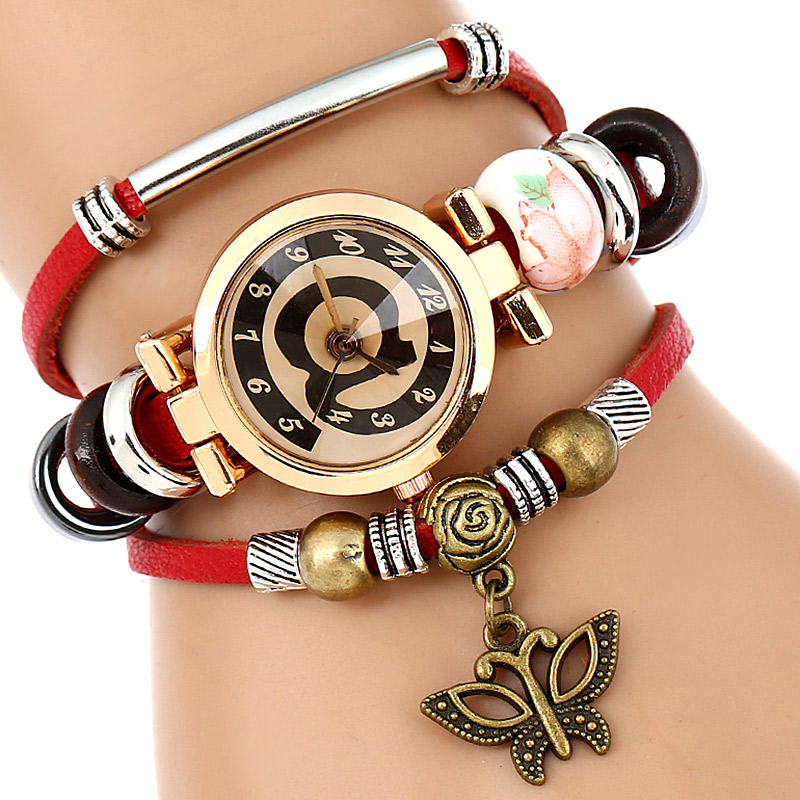 Top Leather Watch Women Triple Armband Armbandsur @ Face Butterfly - Damklockor - Foto 3