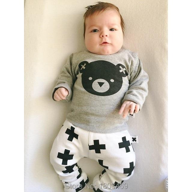 e605b6382 2015 nueva moda ropa de bebé unisex bebe oso de dibujos animados T-shirt +