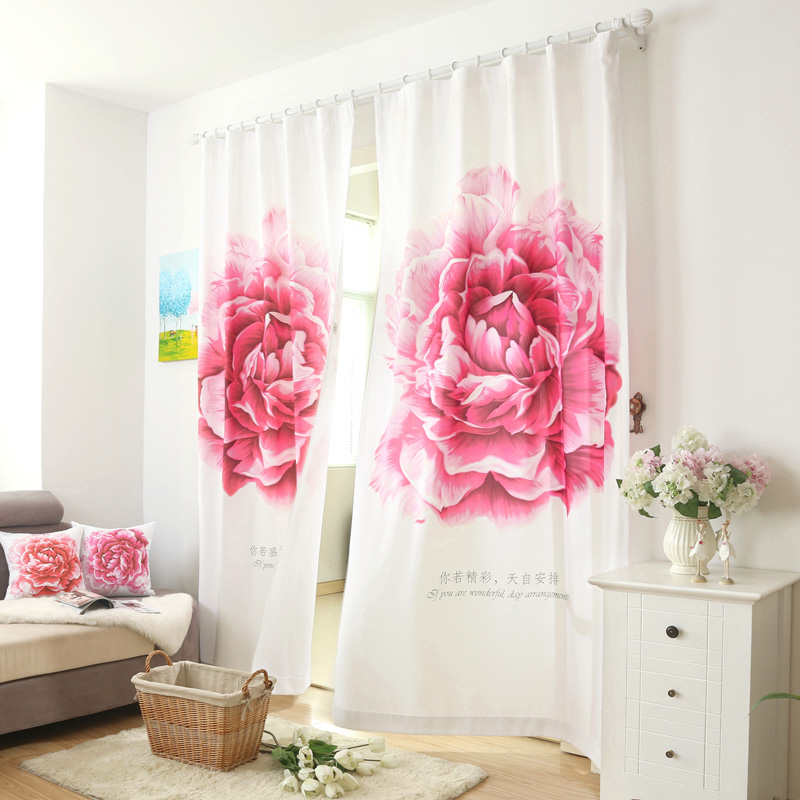 Blackout Curtains Short Window Panel Curtains Ready Made Linen Drapes Door  Blind Fabric Rose Red Window