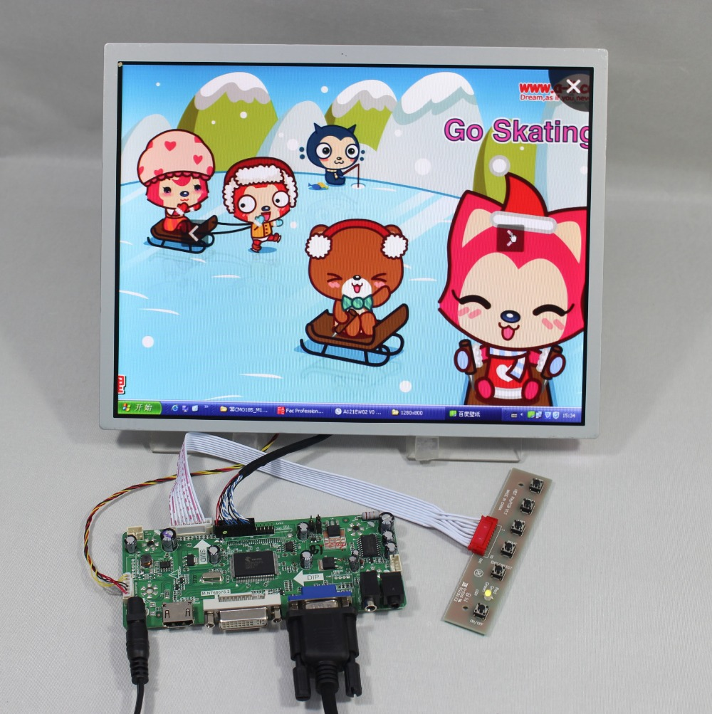 HDMI+VGA+DVI+Audio Controller board+12.1inch LQ121S1LG73 800*600 Lcd screen 8 4 8 inch industrial control lcd monitor vga dvi interface metal shell open frame non touch screen 800 600 4 3