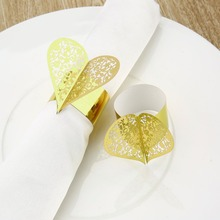 50pcs Creative Heart Shape Laser Cut Paper Napkin Ring for Wedding Party Dinner Table Decoration Napkin Buckle