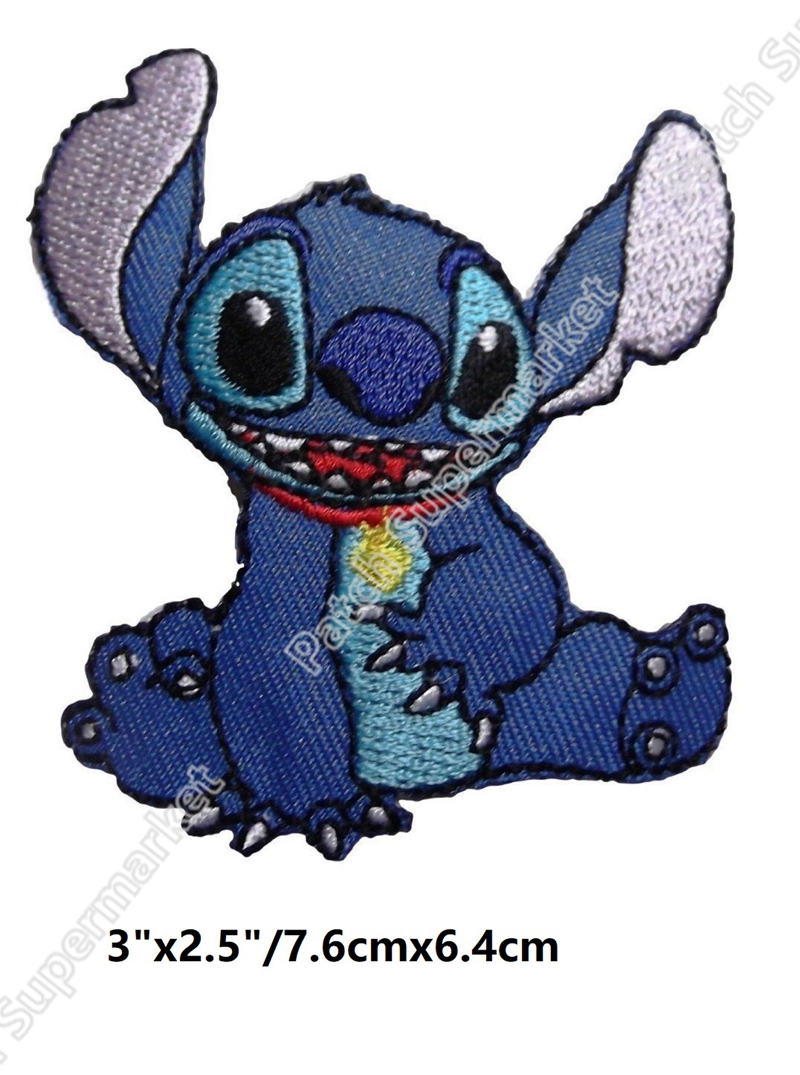 Lilo Stitch Character Sitting Cartoon patches for clothes TV MOVIE FILM Series Costume Embroidered Iron On