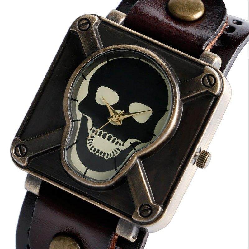 цена Luxury Steampunk Men Watches Bracelet Crossbone Square Shape Quartz Man Wrist Watch Gothic Style Leather Strap Male Clock Gifts